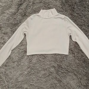 Ribbed white turtle neck crop top